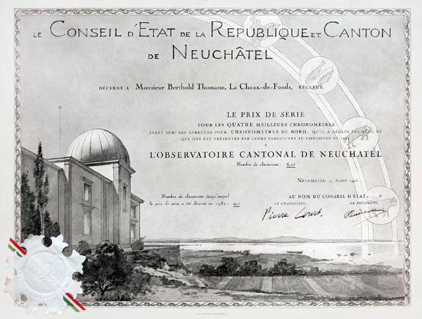 Prix de série décerné à M. Berthold Thomann, pour les quatre meilleurs chronomètres en 1952 Observatoire Cantonal de Neuchâtel MIH / BM