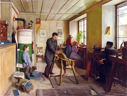 Edouard Kaiser (1855-1931) Polisseuses et Guillocheurs, 1896. Huile sur toile, 126 x 168 cm Musée des beaux-arts, Le Locle