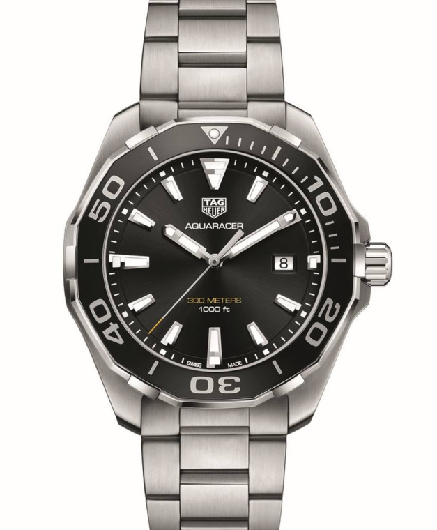 Aquaracer 300 mètres 43 mm : lunette alu et calibre quartz
