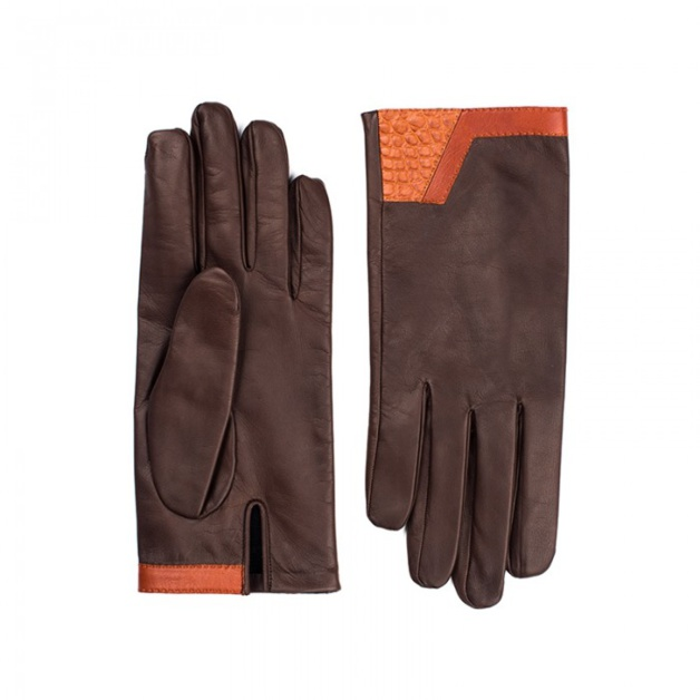 Gants Camille Fournet en chevreau marron chevreau gold et alligator