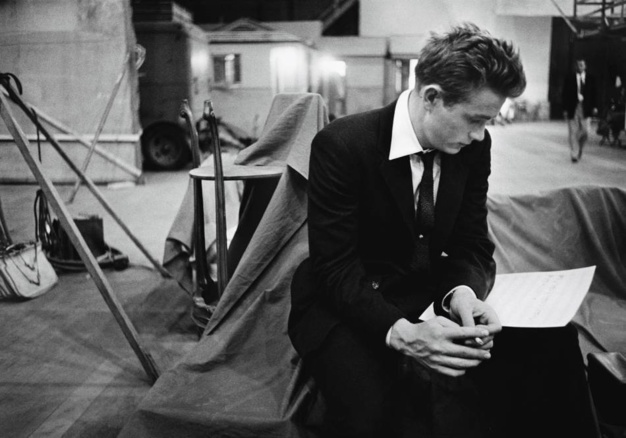 James Dean goes over his script on the set of Rebel Without A Cause Warner Brothers Studios 1955