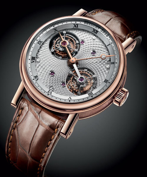 Double tourbillon Breguet en or rose