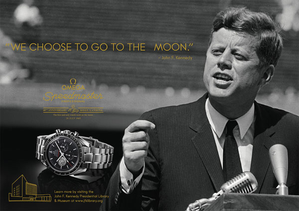 John Fitzgerald Kennedy dans la prochaine campagne de communication Omega