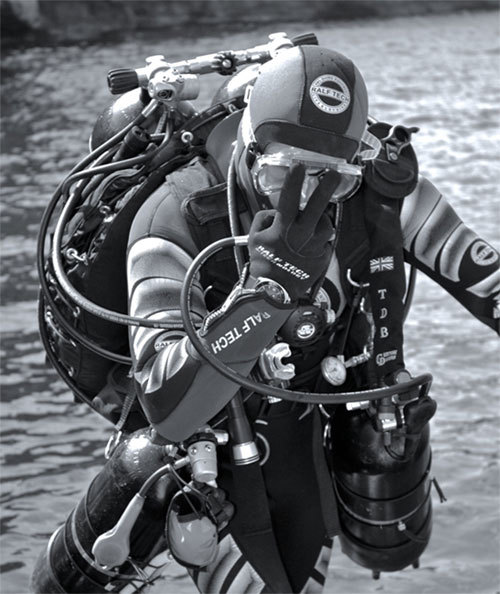 Franck Huyghe avant une plongée profonde