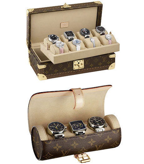 louis vuitton un coffret et un tui montres en toile monogram. Black Bedroom Furniture Sets. Home Design Ideas