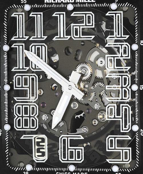 Richard Mille RM016 Titalyt : mouvement squeletté avec heures, minutes, quantième et rotor à géométrie variable