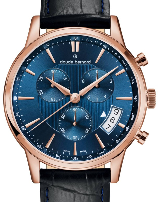 claude bernard classic chronograph cadran bleu cobalt. Black Bedroom Furniture Sets. Home Design Ideas