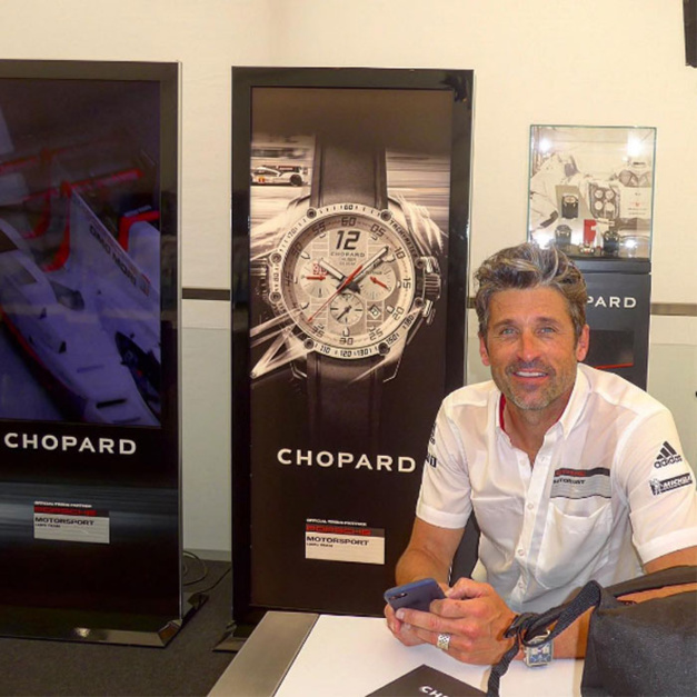 Patrick Dempsey, un ambassadeur TAG Heuer en visite chez Chopard