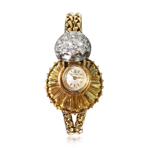 Montre Omega à secret topaze et diamants, circa 1956