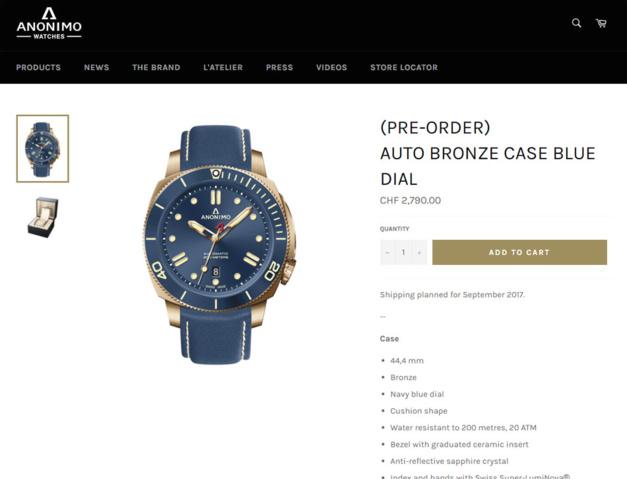 Anonimo : un site de e-commerce pour vous offrir la Nautilo de vos rêves