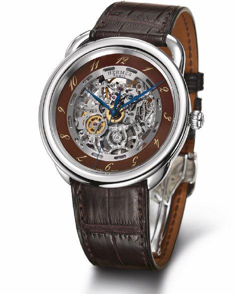 Hermès Arceau Squelette, cadran brun