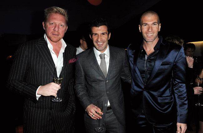 Boris Becker, Luís Figo et Zinedine Zidane