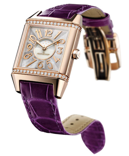 Reverso Squadra Lady Automatic : or rose, diamants, nacre blanche et indication jour/nuit