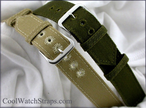 CoolWatchStraps.com : des bracelets-montres de type « militaire » 100% coton
