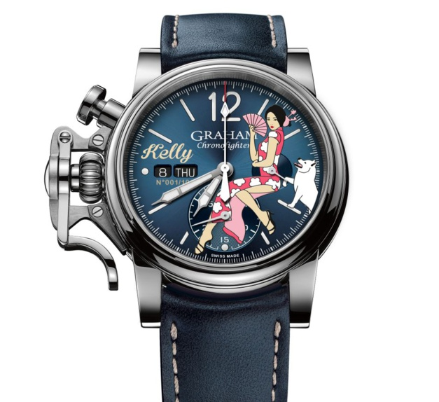 Graham Chronofighter Nose Art : une Kelly en qipao et son chien blanc