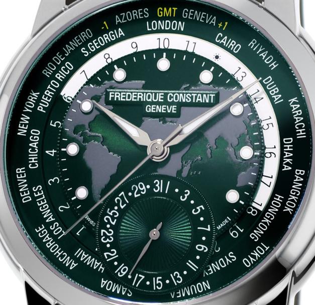 Frédérique Constant Manufacture Worldtimer : vert anglais en Helvétie