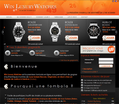 Win Luxury Watches ou comment gagner une Rolex Submariner en misant 5 euros !