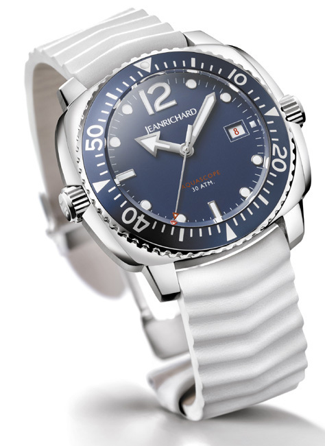 Aquascope Marine JeanRichard : du bleu et du blanc pour une montre estivale
