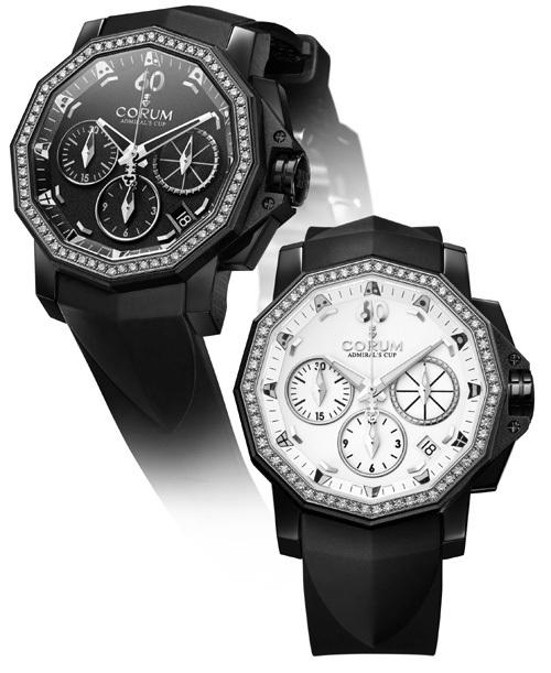 Admiral's Cup Black Chronograph 40 : 127 grammes d'acier noir pour 66 diamants blancs
