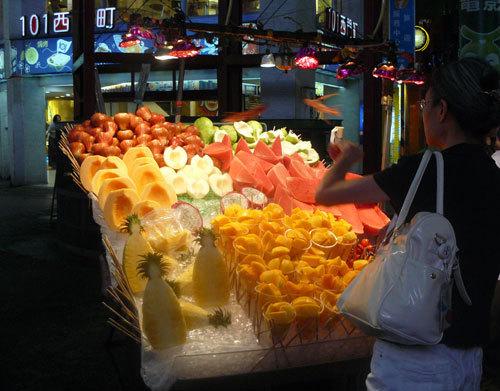 Echoppe de fruits frais dans le quartier de Ximending