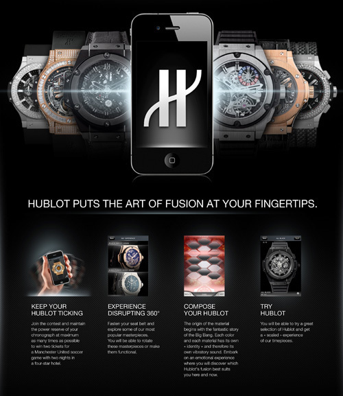Hublot lance son application pour iPhone et iPod Touch