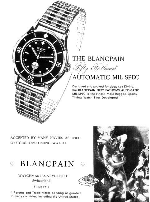 Publicité Blancpain de 1954