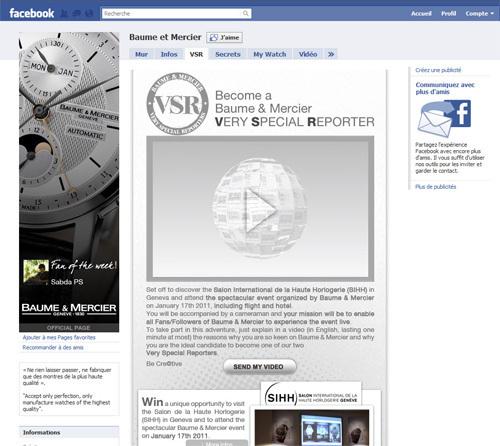 Baume et Mercier : devenez le « Very Special Reporter » de la marque et partez au SIHH 2011