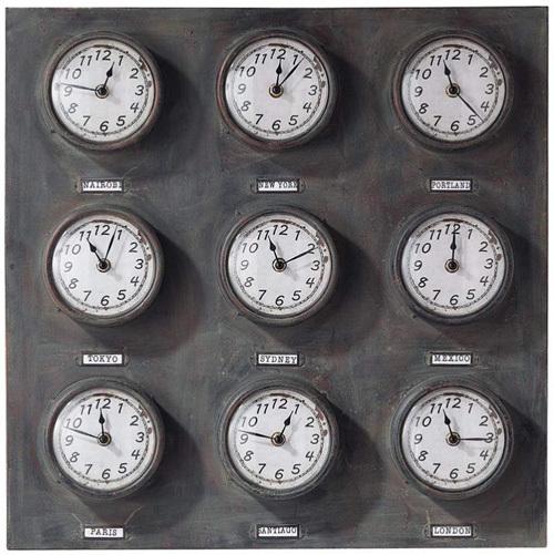 maisons du monde trois horloges qui proposent les heures du monde. Black Bedroom Furniture Sets. Home Design Ideas
