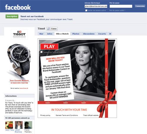 Tissot : un concours spécial Saint-Valentin sur Facebook