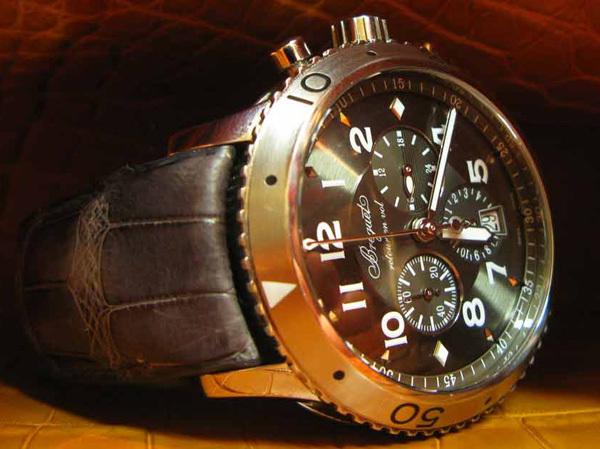 Bracelet en alligator gris gainé sur insert d'origine pour une montre Breguet type XXI