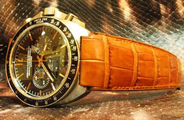 Bracelet alligator sur montre Chronographe Suisse