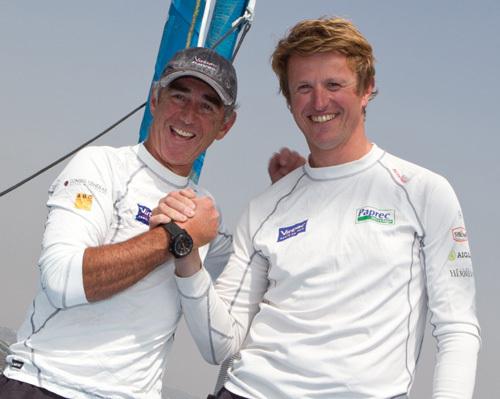 Loïck Peyron –ambassadeur Corum- et Jean-Pierre Dick remportent la Barcelona World Race