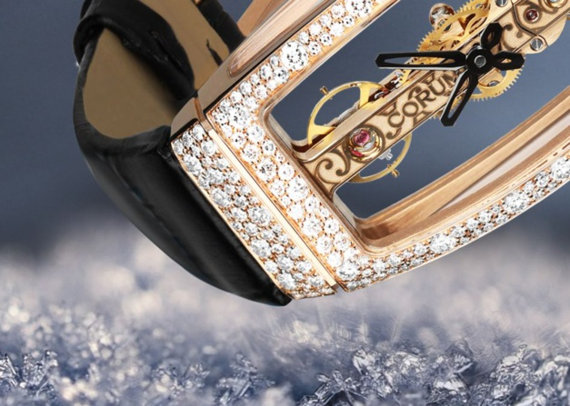 Corum Golden Bridge serti neige (détail)