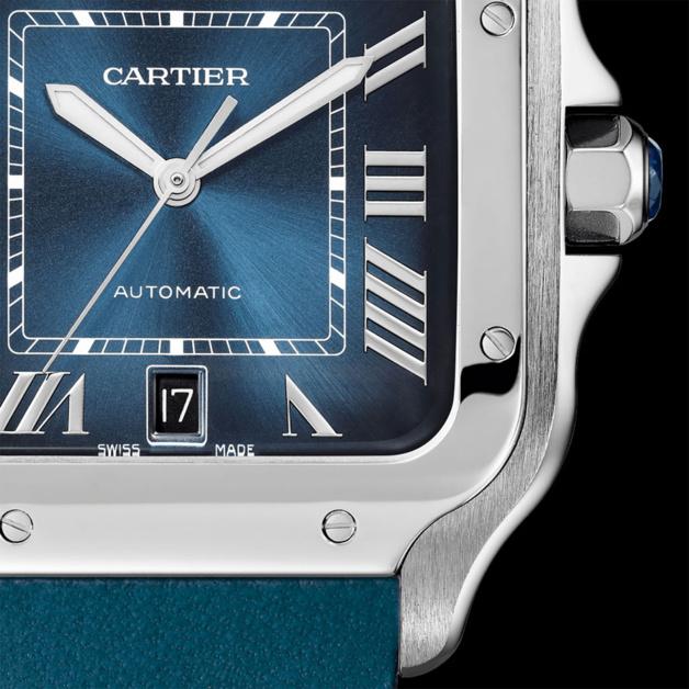 Cartier Santos avec cadran bleu dégradé très tendance