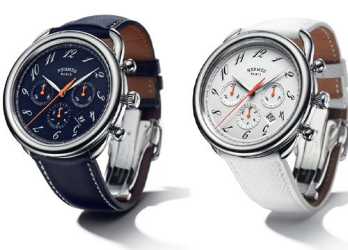 Hermès Arceau Chrono Colors : bleu, blanc, orange