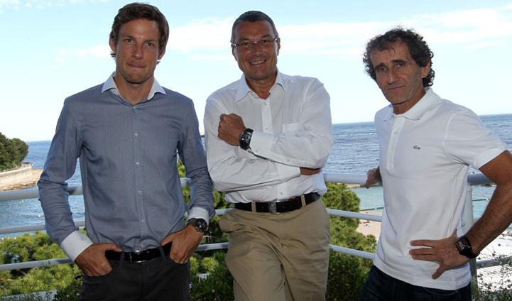 Jenson Button, Jean-Christophe Babin et Alain Prost