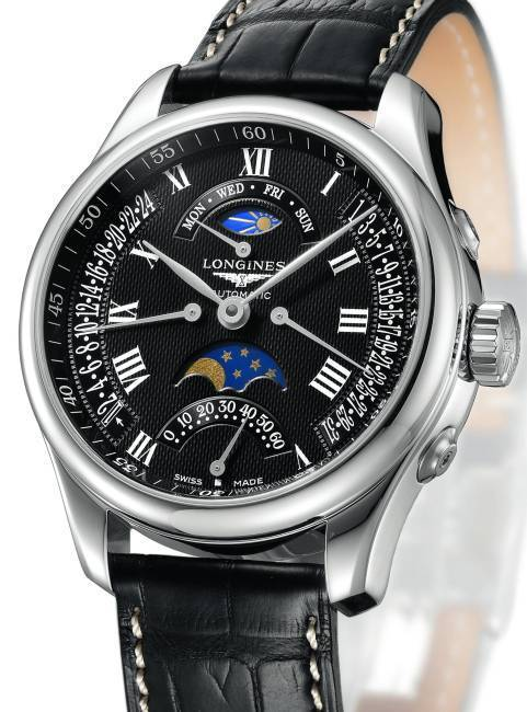 The Longines Master Collection Retrograde  Moon Phases : le ballet des aiguilles rythme les phases de la lune