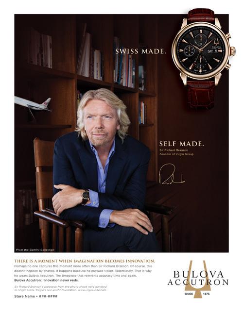 Richard Branson, patron de Virgin, devient partenaire de Bulova Accutron
