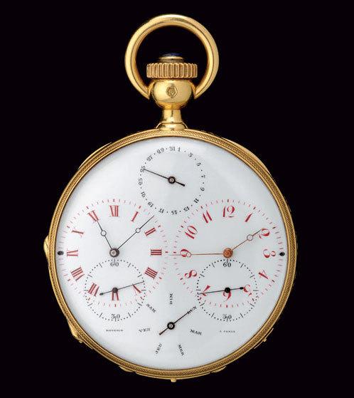 Montre de poche à double fuseau horaire, crédit photo Musée d'horlogerie du Locle