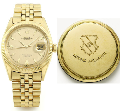 Genève : la montre Rolex du chancelier Allemand Konrad Adenauer vendue 138.000 euros
