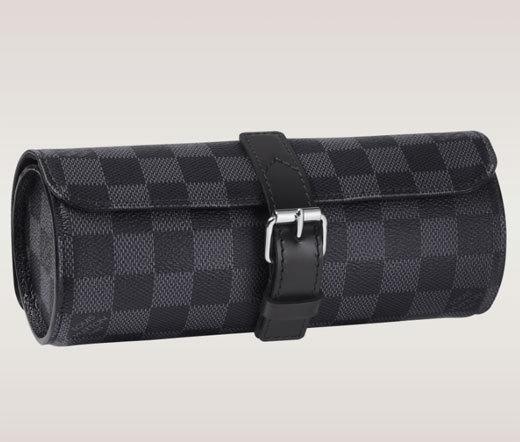 Etui à montres Louis Vuitton en toile Damier graphite