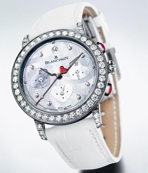 Blancpain : le modèle de la Saint Valentin 2012 est un chronographe flyback serti de diamants