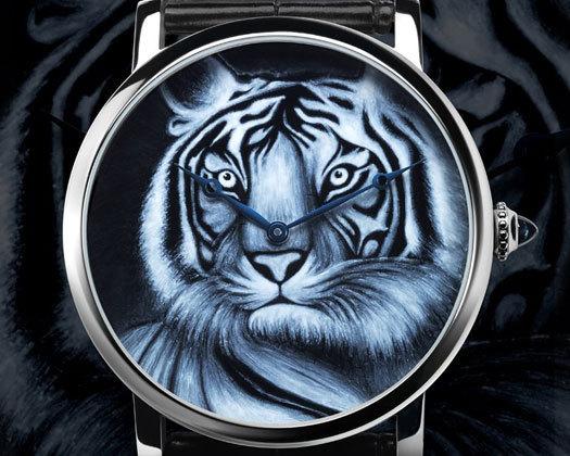 Rotonde de Cartier : décor tigre en émail grisaille
