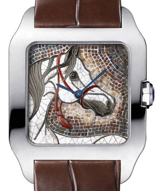 Cartier Santos-Dumont XL : un cheval en mosaïque de pierres sur le cadran