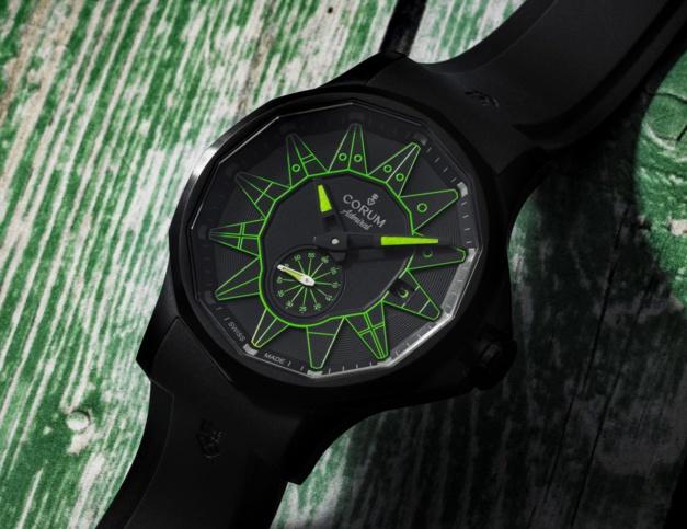 Corum : l'Admiral 42 Automatic s'agrémente de couleurs vives dans sa tenue noire