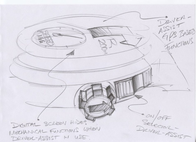 Dans ces cinq dessins on retrouve la passion automobile de Chopard et de son président K F Sch. Pilote de rallye il a demandé à Guy Bové de concevoir un instrument moderne qui associe l'horlogerie et les outils indispensables à la pratique du sport automobile