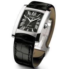 Boîte en acier brossé/poli, bracelet en alligator noir, cadran noir
