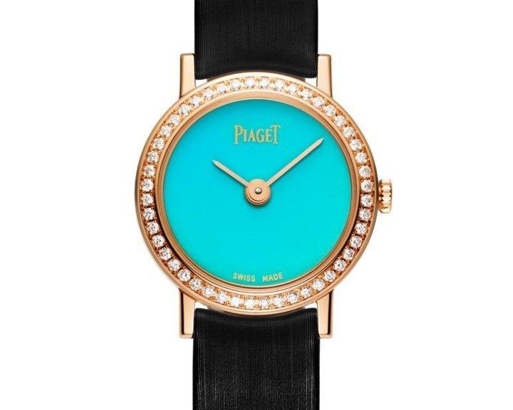 Altiplano 24mm Cadran Pierre Dure en or rose sertie de diamants, cadran en turquoise, mouvement quartz Piaget 690P