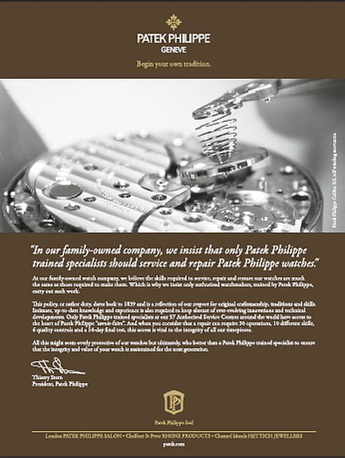 Patek Philippe : deuxième volet de sa campagne de publicité électronique consacré au service