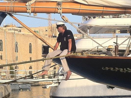 Henri-Christian Schroeder à bord du Trois-mâts Atlantic à Grand Harbour Marina à Malte